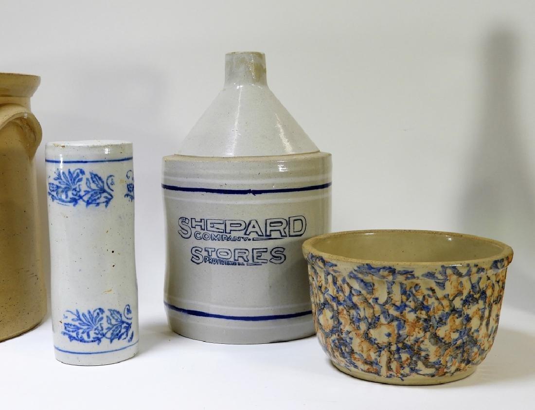 5PC Primitive Blue Slip Stoneware Jug Crock Bowl - 4