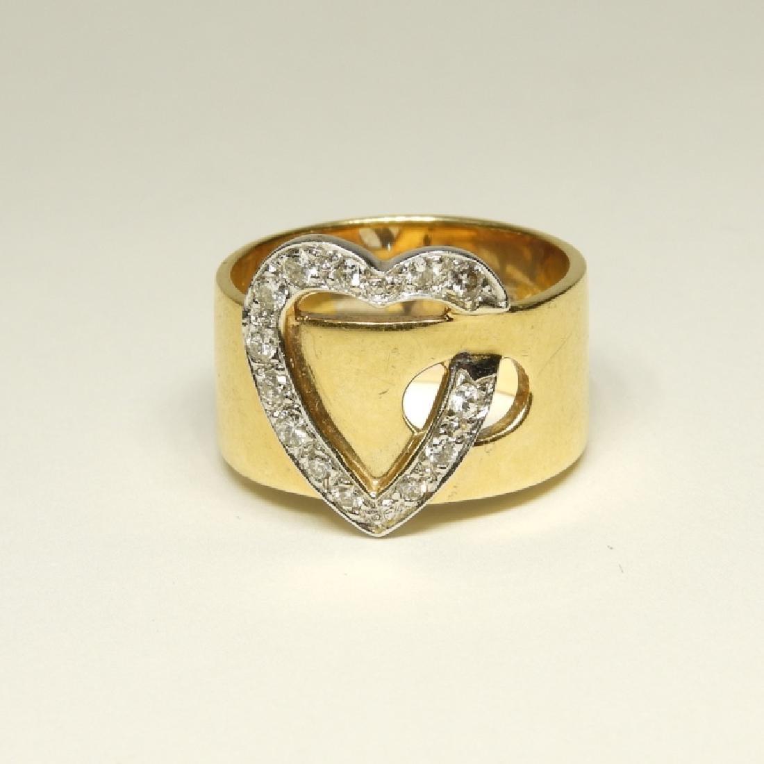14K Gold Diamond Heart Belt Form Lady's Ring