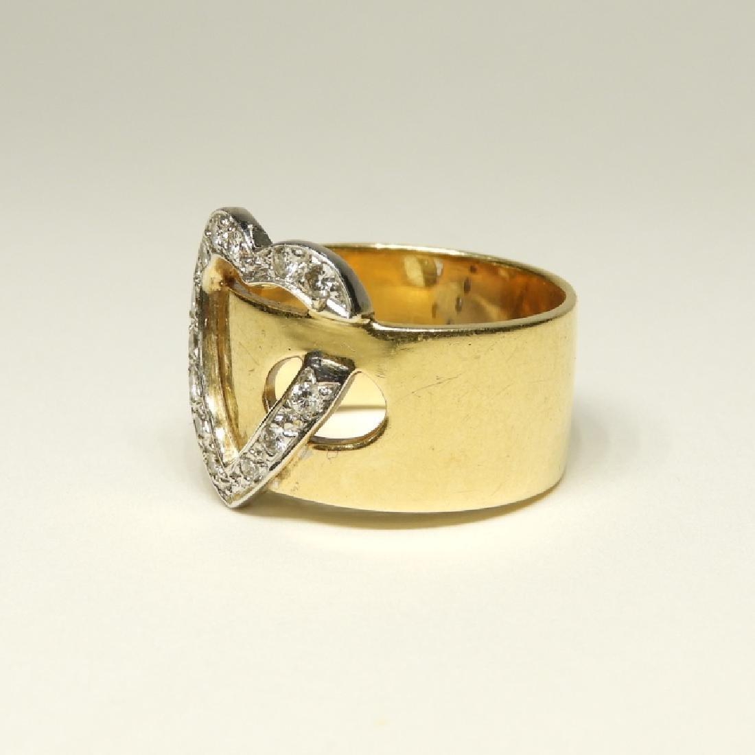 14K Gold Diamond Heart Belt Form Lady's Ring - 2
