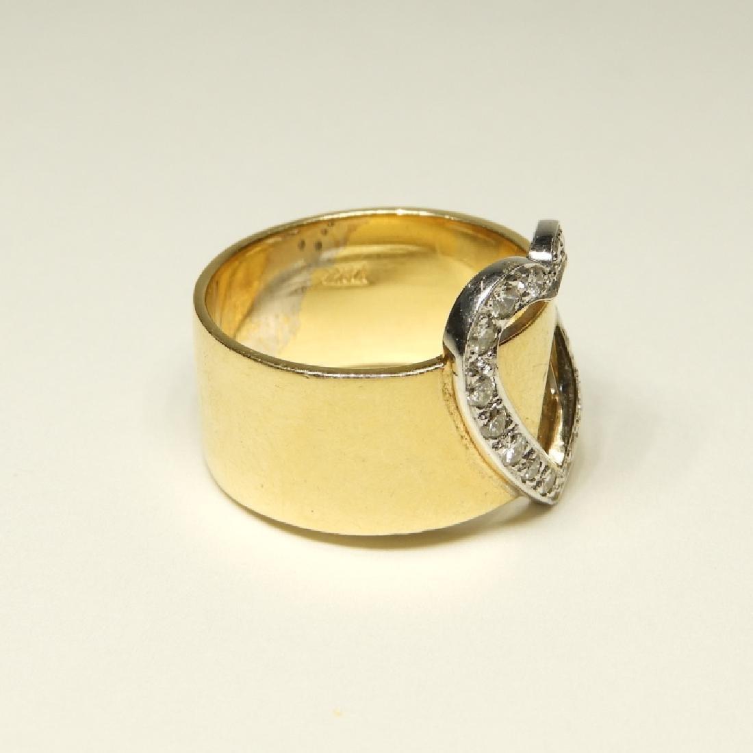 14K Gold Diamond Heart Belt Form Lady's Ring - 3