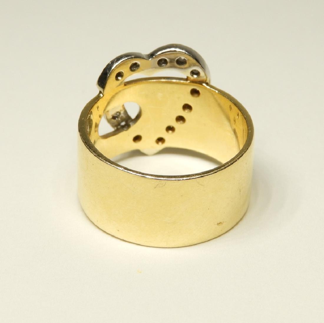 14K Gold Diamond Heart Belt Form Lady's Ring - 4