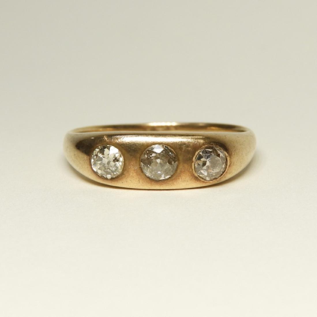 Modernist Design 14K Gold Diamond Ring