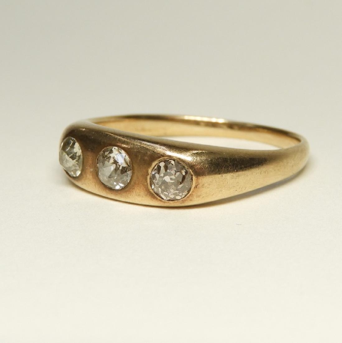 Modernist Design 14K Gold Diamond Ring - 2