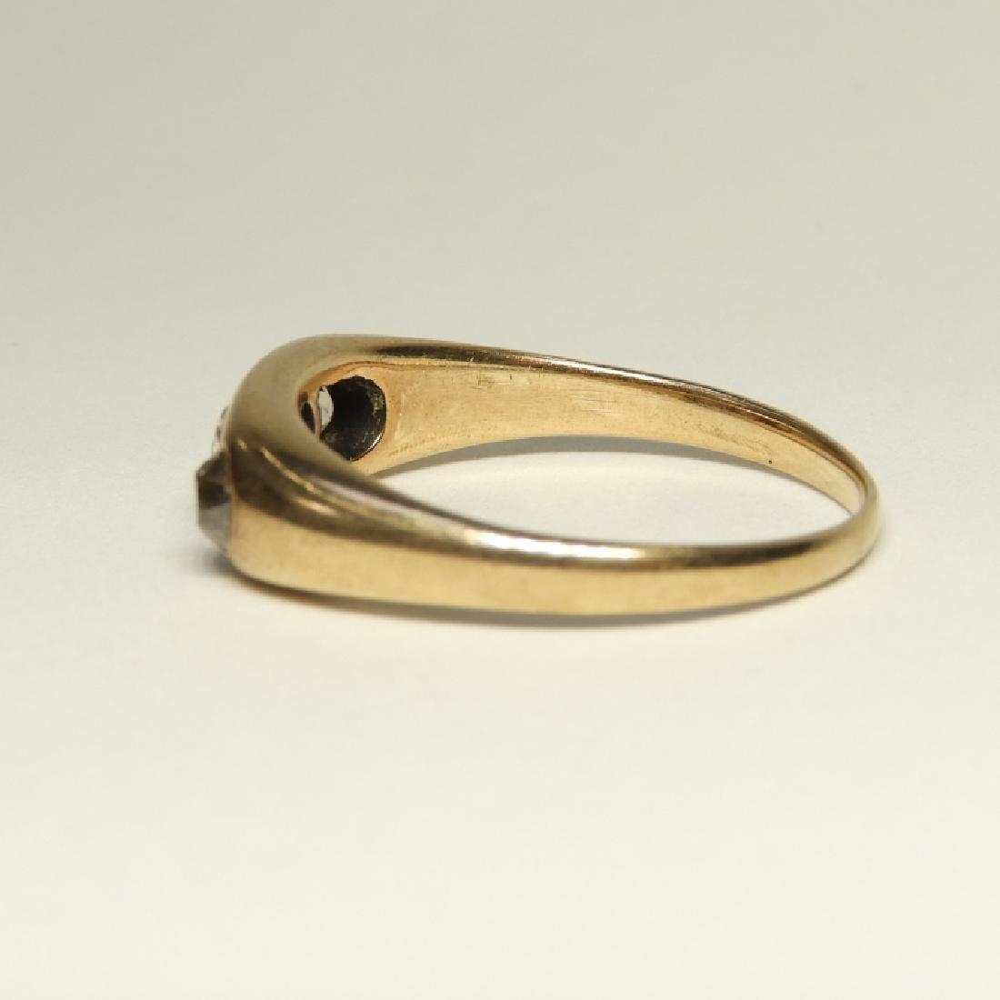 Modernist Design 14K Gold Diamond Ring - 3