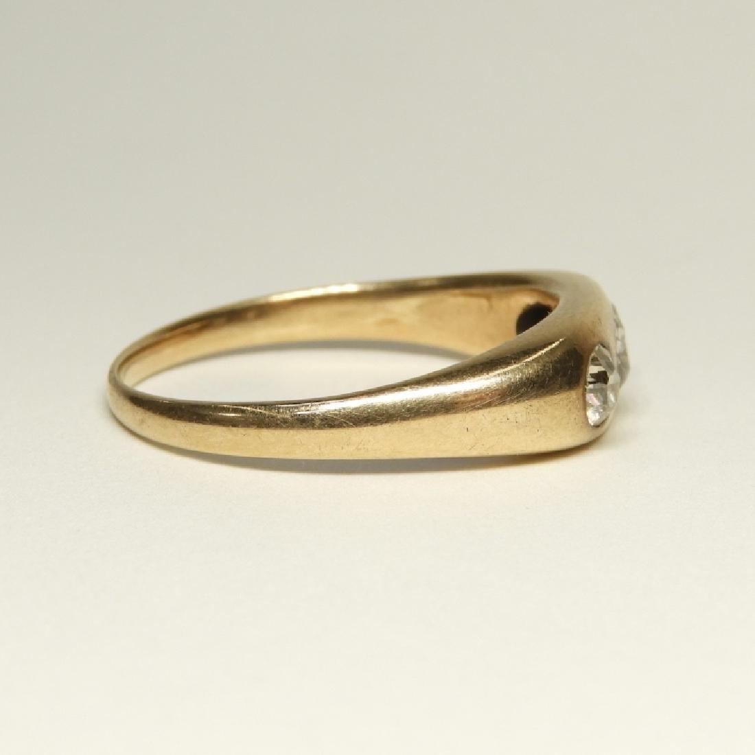 Modernist Design 14K Gold Diamond Ring - 4