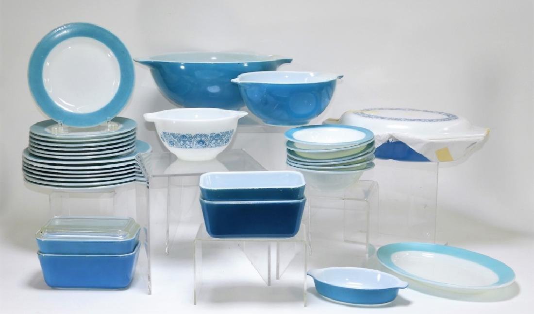 30PC Vintage Pyrex Blue Americana Plate Bowl Group