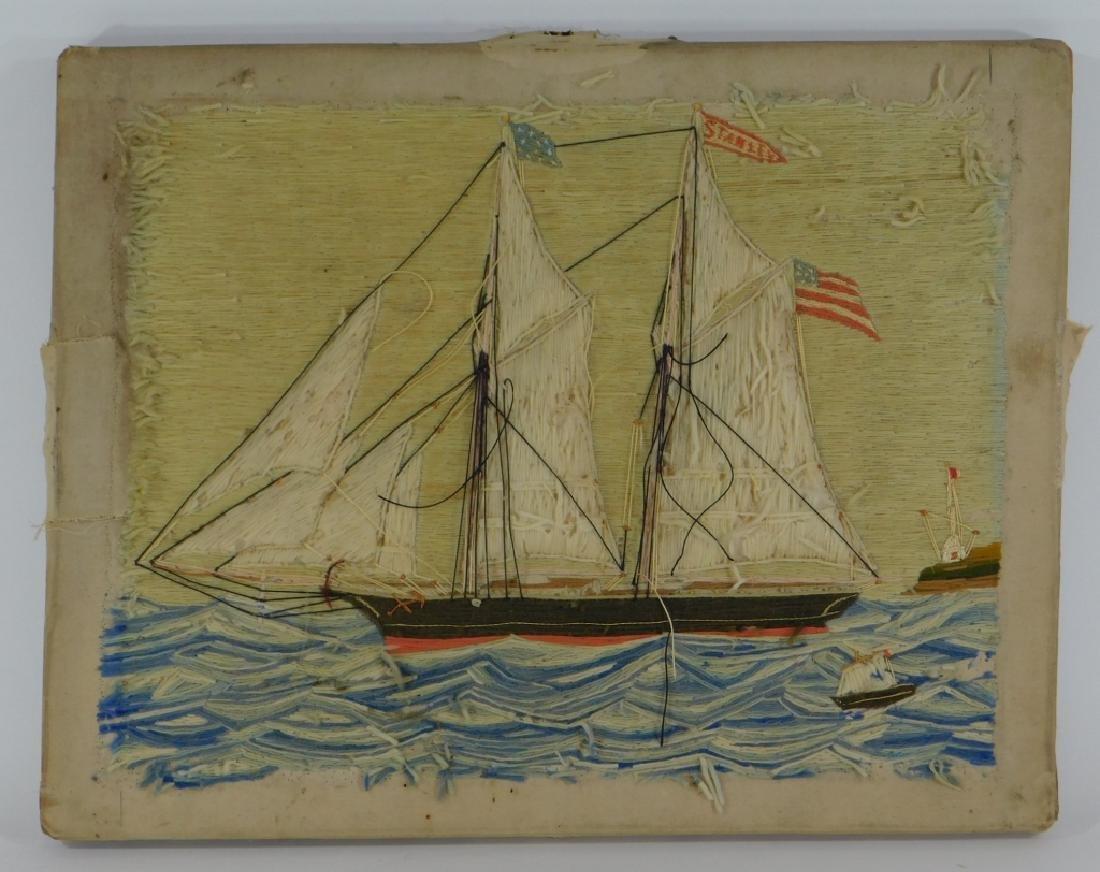 19C. American Folk Art Ship's Woolie Textile