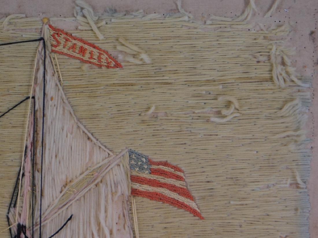 19C. American Folk Art Ship's Woolie Textile - 2