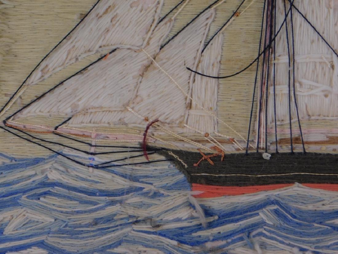 19C. American Folk Art Ship's Woolie Textile - 3