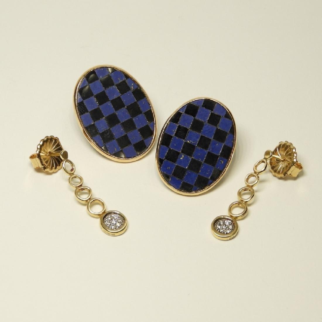 2 Pair 14K Gold Earrings Diamonds Lapis Onyx