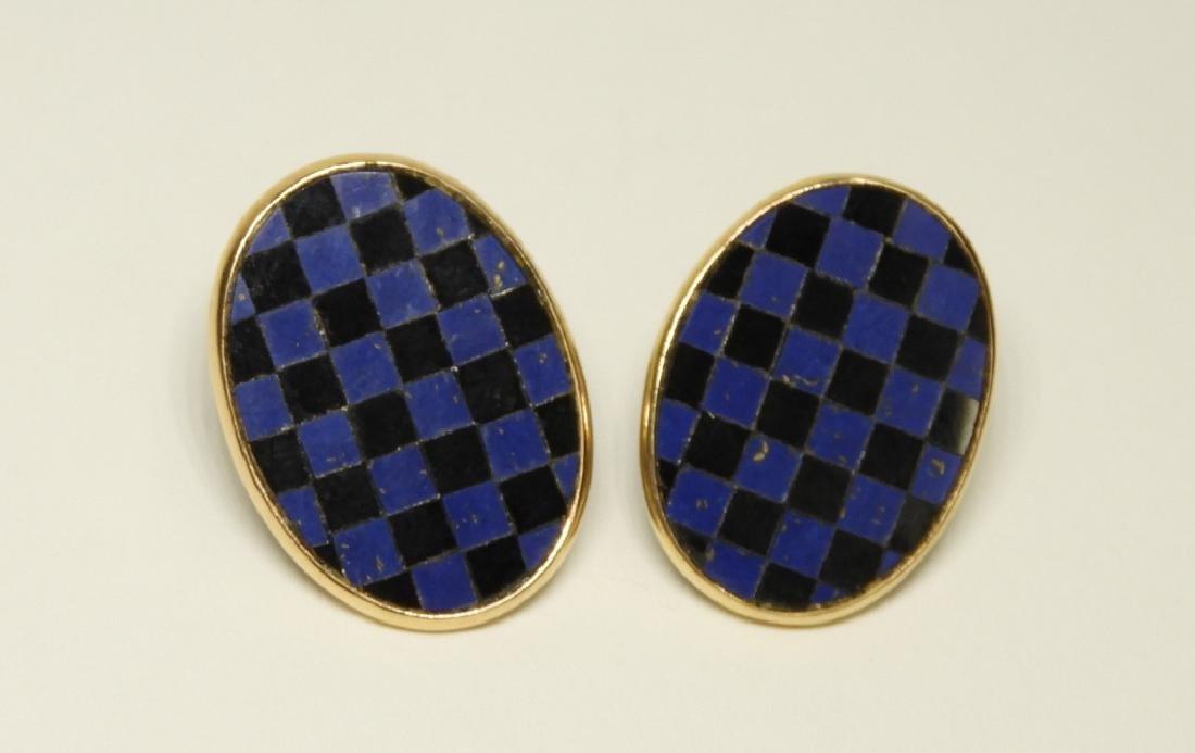 2 Pair 14K Gold Earrings Diamonds Lapis Onyx - 2