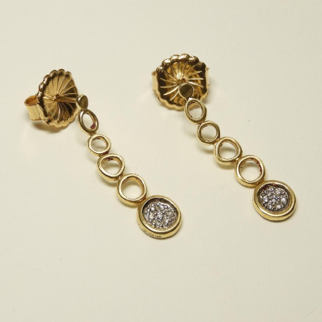 2 Pair 14K Gold Earrings Diamonds Lapis Onyx - 3