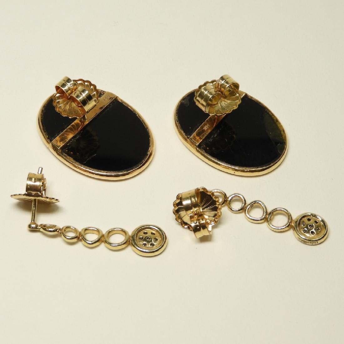 2 Pair 14K Gold Earrings Diamonds Lapis Onyx - 4