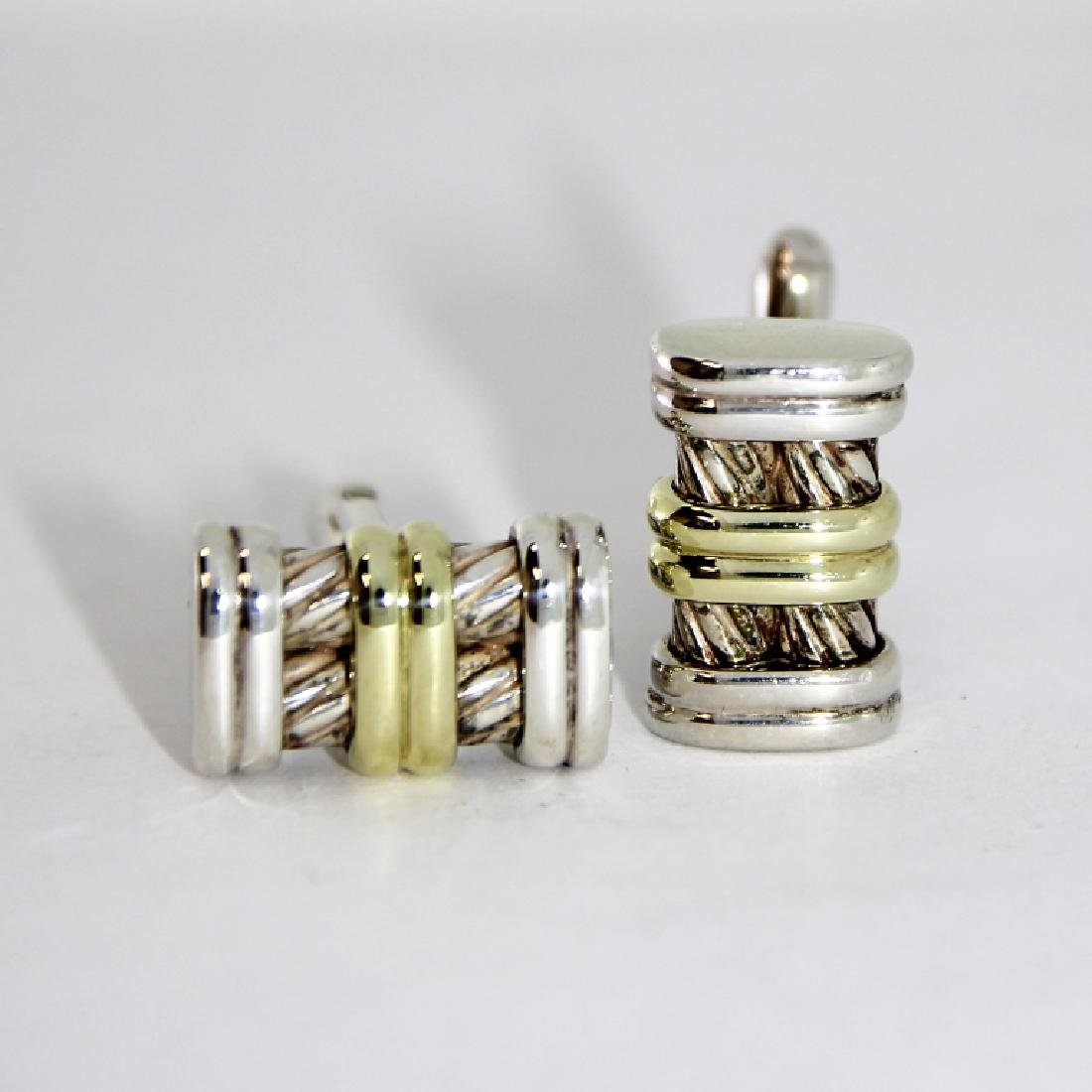 David Yurman 14K Gold S.S. Cable Cufflinks