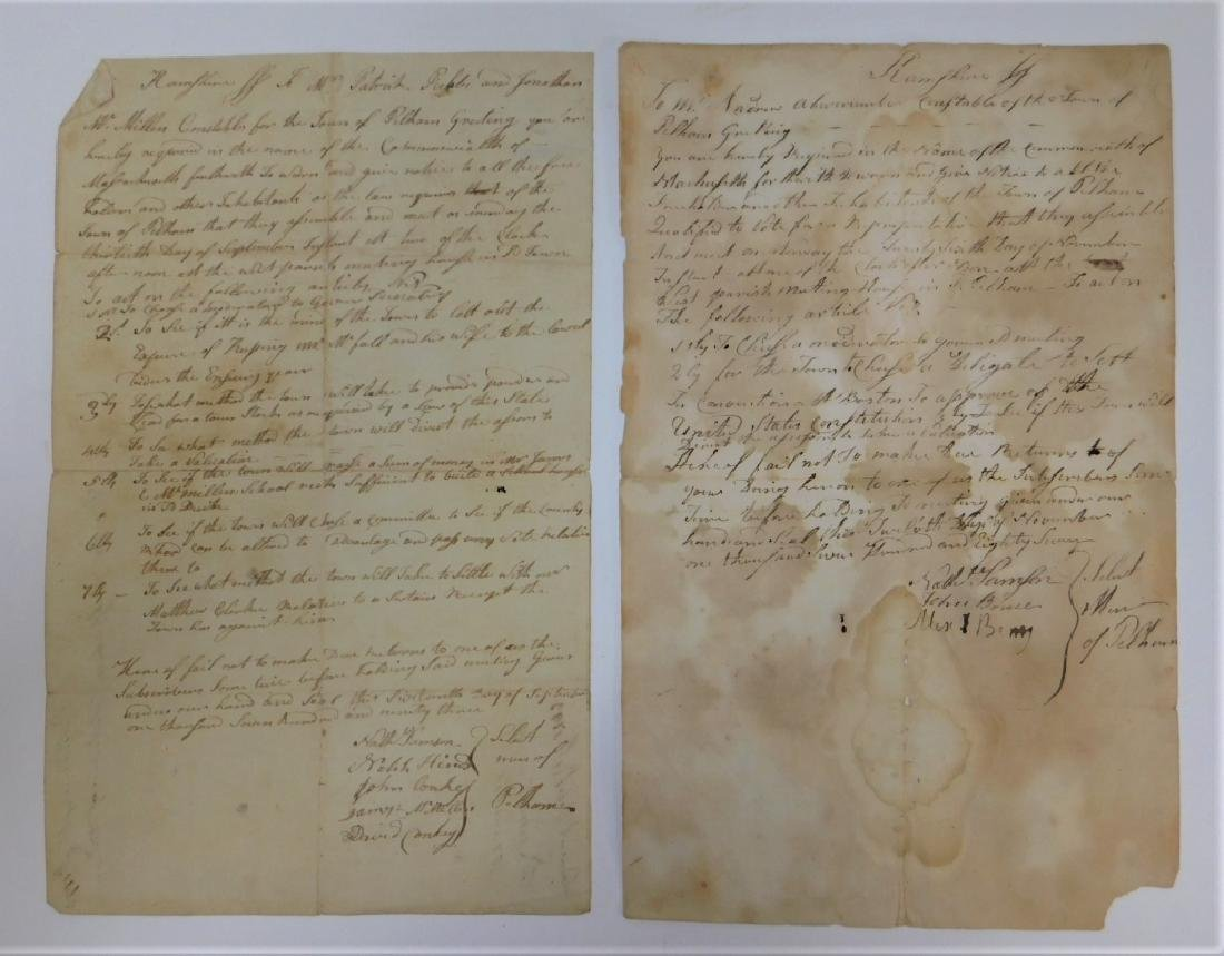 2 Letters Documents Pelham MA US Constitution 1787
