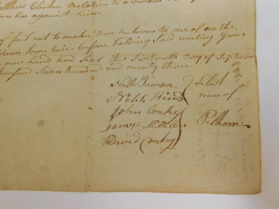 2 Letters Documents Pelham MA US Constitution 1787 - 4