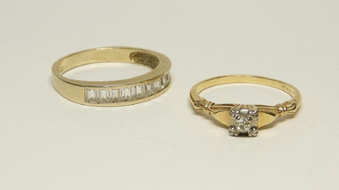 2 Estate 14K Gold Diamond Cubic Zirconia Rings