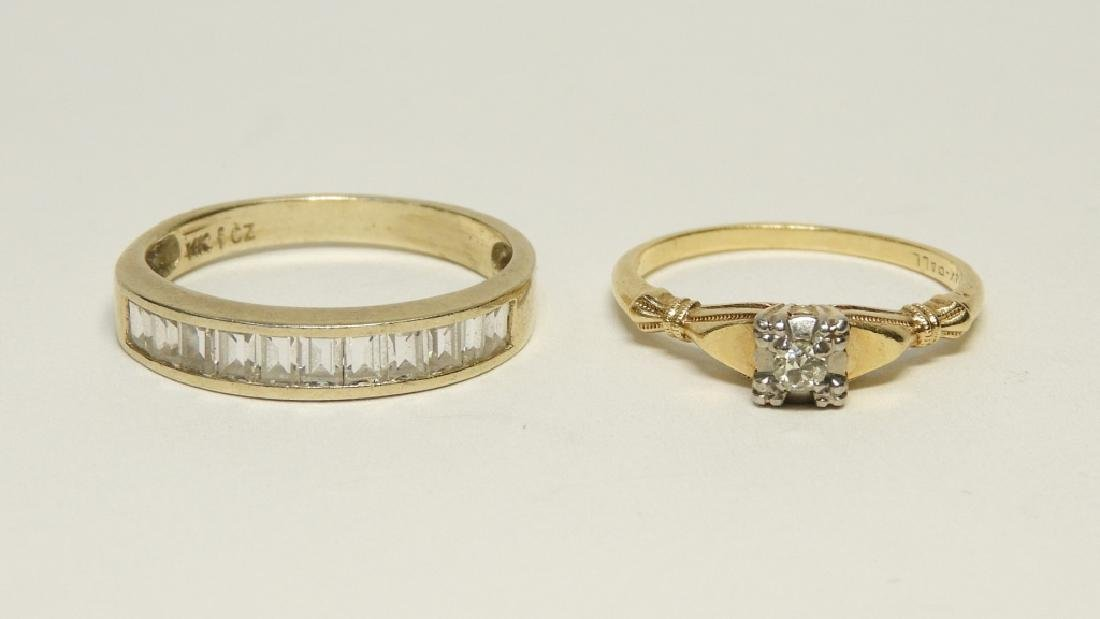 2 Estate 14K Gold Diamond Cubic Zirconia Rings - 2