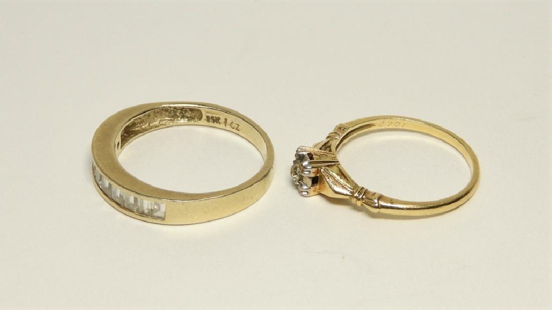 2 Estate 14K Gold Diamond Cubic Zirconia Rings - 3