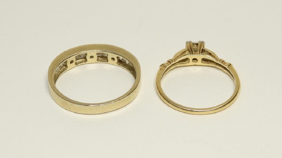 2 Estate 14K Gold Diamond Cubic Zirconia Rings - 4
