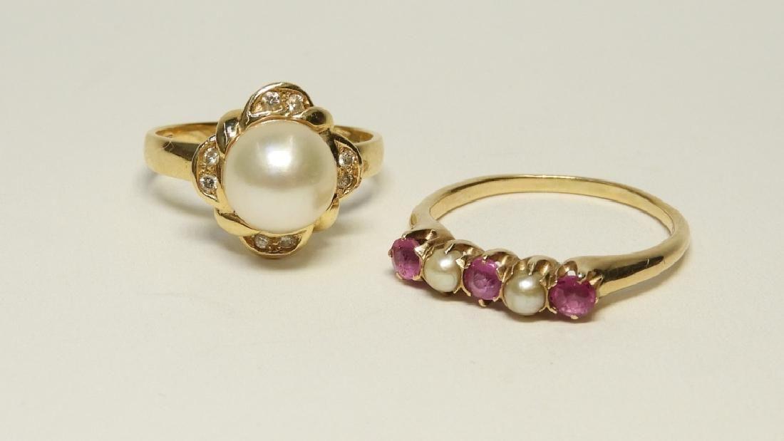 2PC 14K Gold Diamond & Pearl Estate Rings