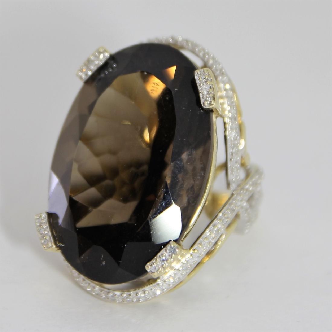 LG Smokey Quartz 14K Gold & Diamond Ring