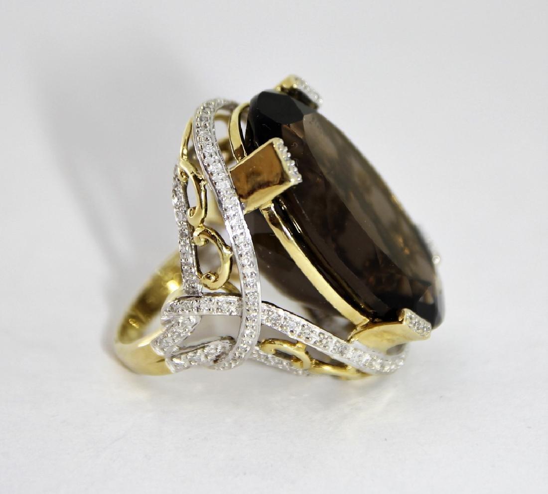 LG Smokey Quartz 14K Gold & Diamond Ring - 2