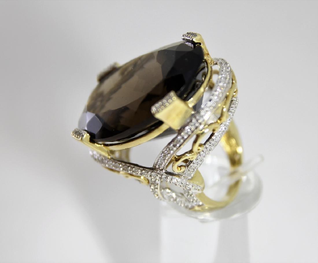 LG Smokey Quartz 14K Gold & Diamond Ring - 3