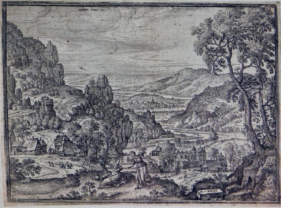 Pieter Van der Borcht Hagar & The Angel Etching