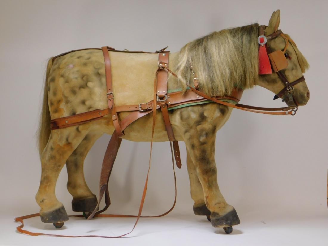 FINE C.1900 German Papier Mache Horse Ride On Toy