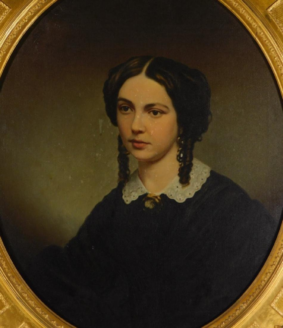 19C American Victorian Portrait Painting of Woman