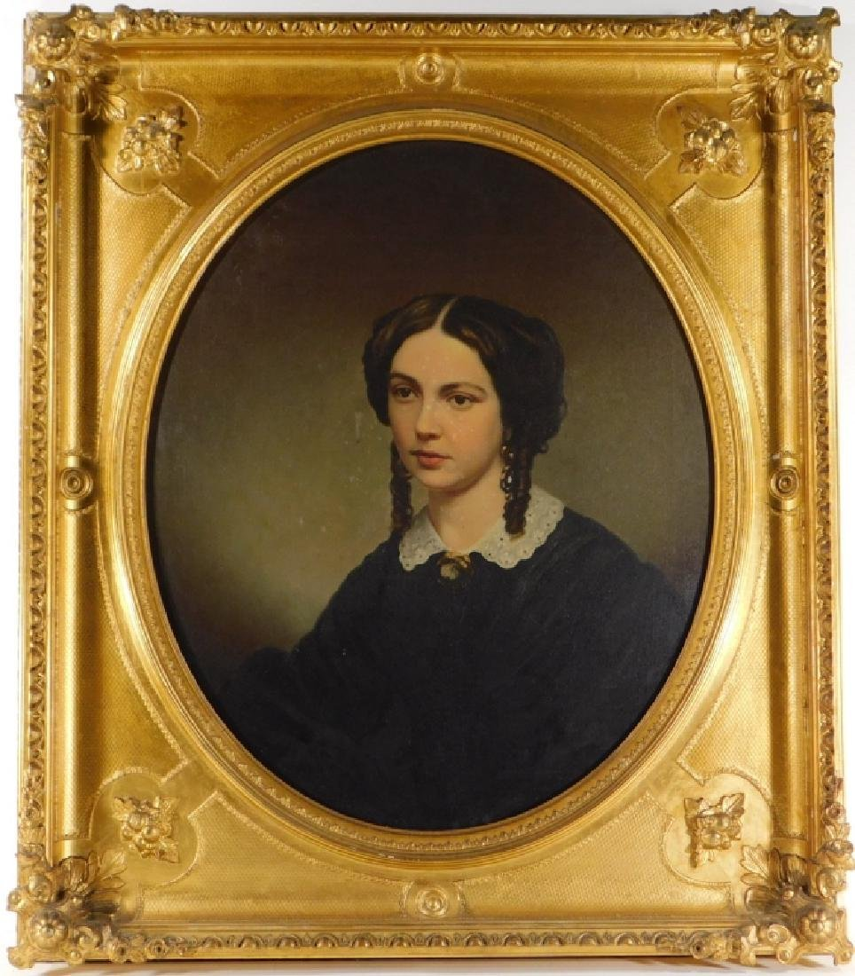 19C American Victorian Portrait Painting of Woman - 2
