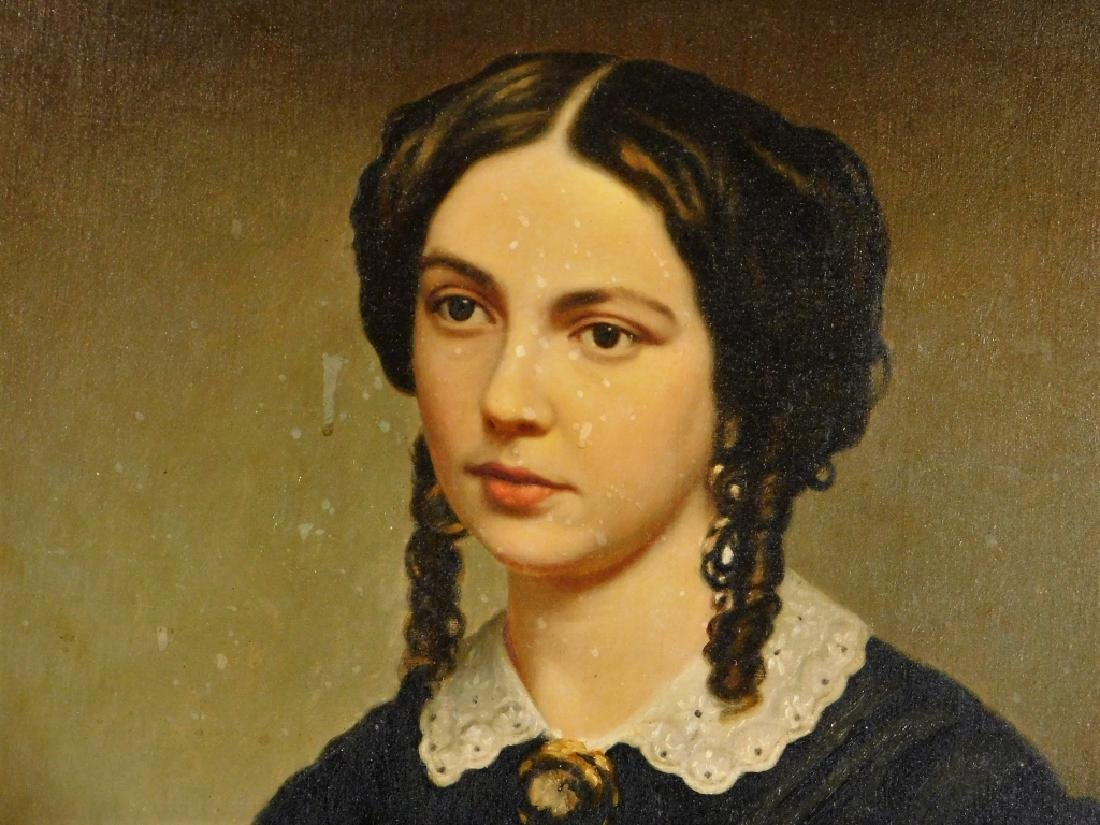 19C American Victorian Portrait Painting of Woman - 3