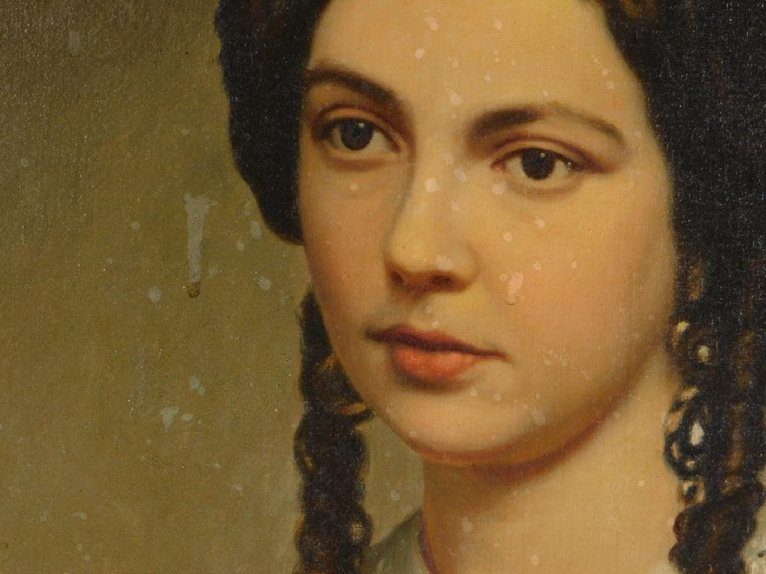 19C American Victorian Portrait Painting of Woman - 4