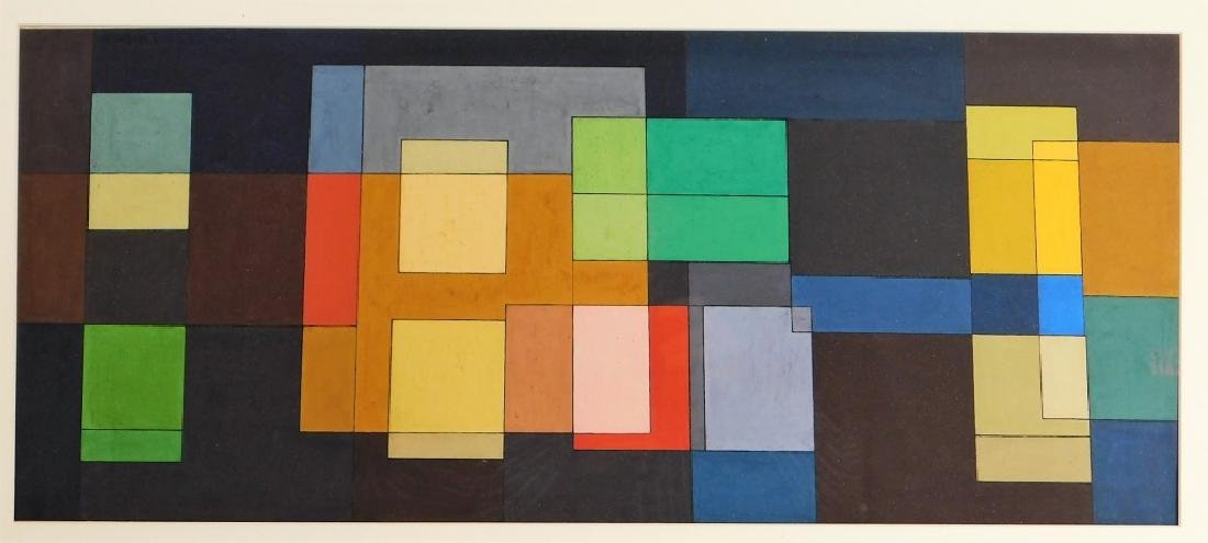 MCM American Geometric Abstract WC Painting