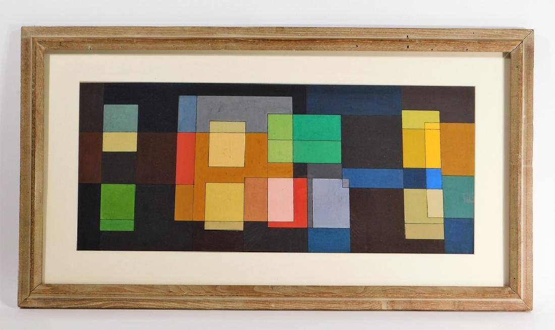 MCM American Geometric Abstract WC Painting - 2