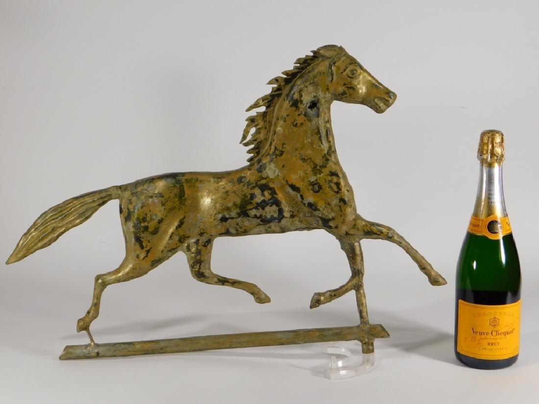 American Ethan Allen Gilt Copper Horse Weathervane - 5