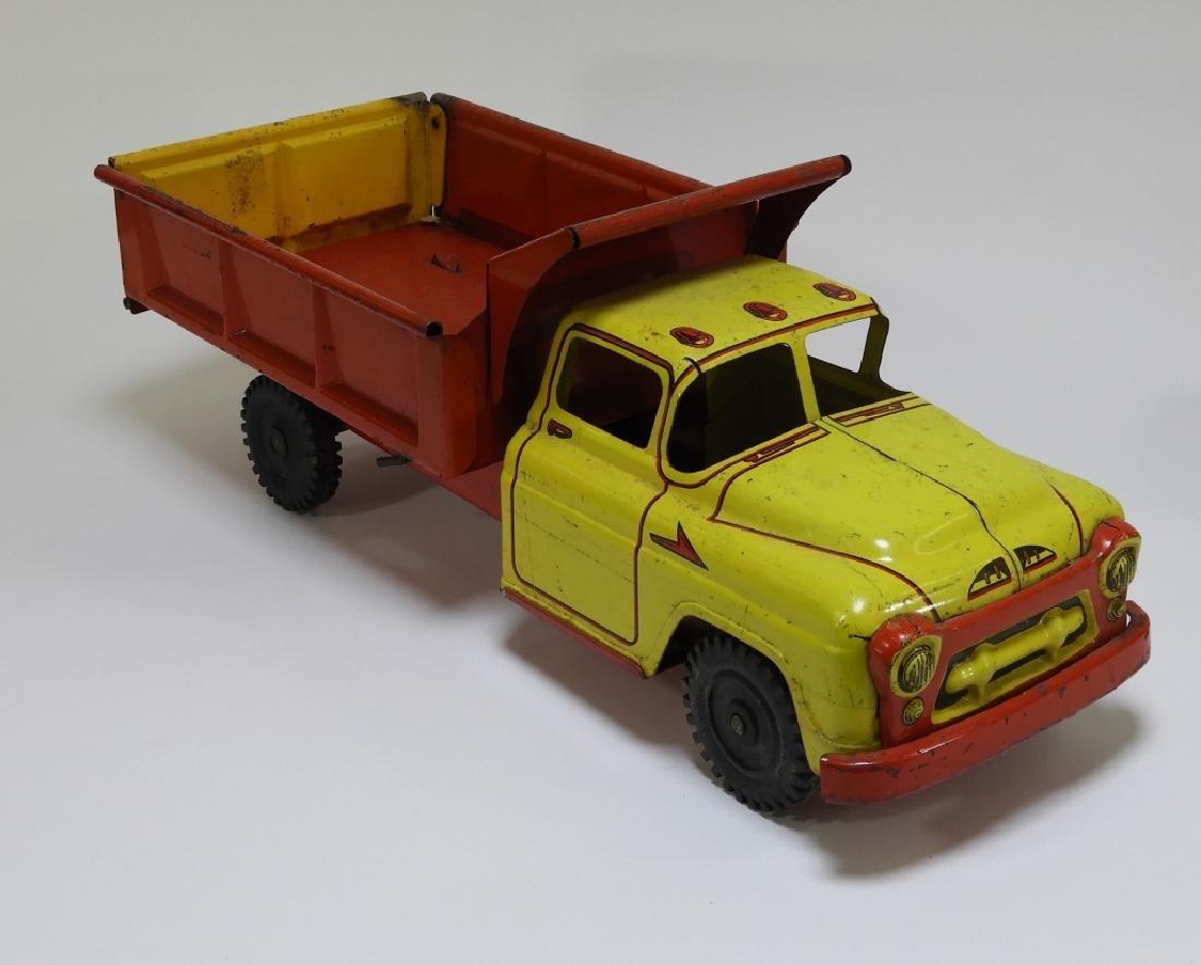 2 Wyandotte Tin Lithograph Construction Dump Truck - 2