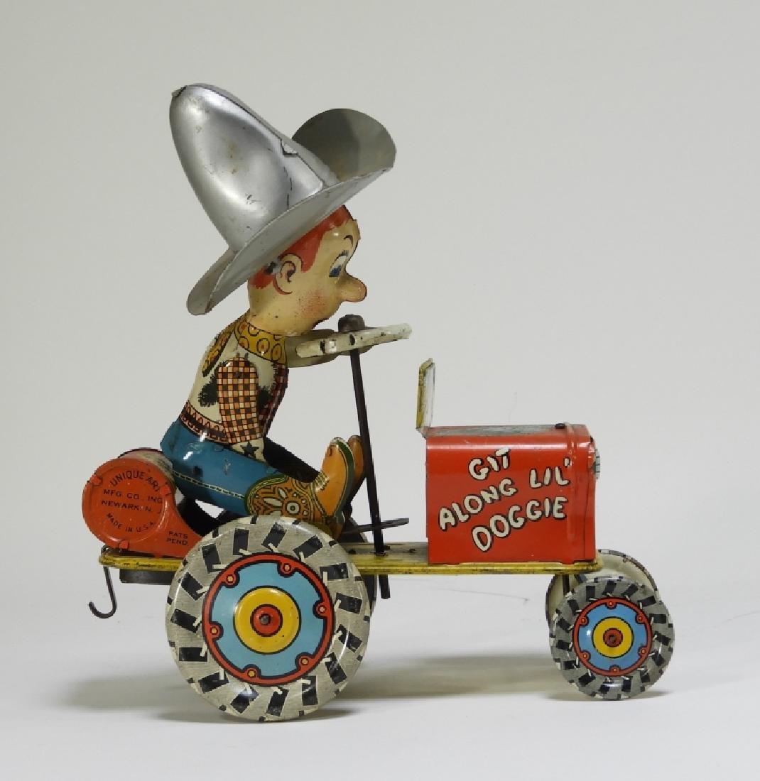 Unique Art Tin Litho Rodeo Joe Western Wind Up Toy