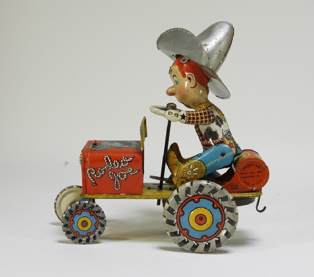 Unique Art Tin Litho Rodeo Joe Western Wind Up Toy - 3