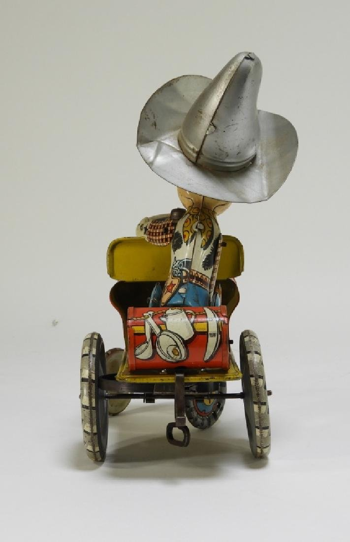 Unique Art Tin Litho Rodeo Joe Western Wind Up Toy - 4