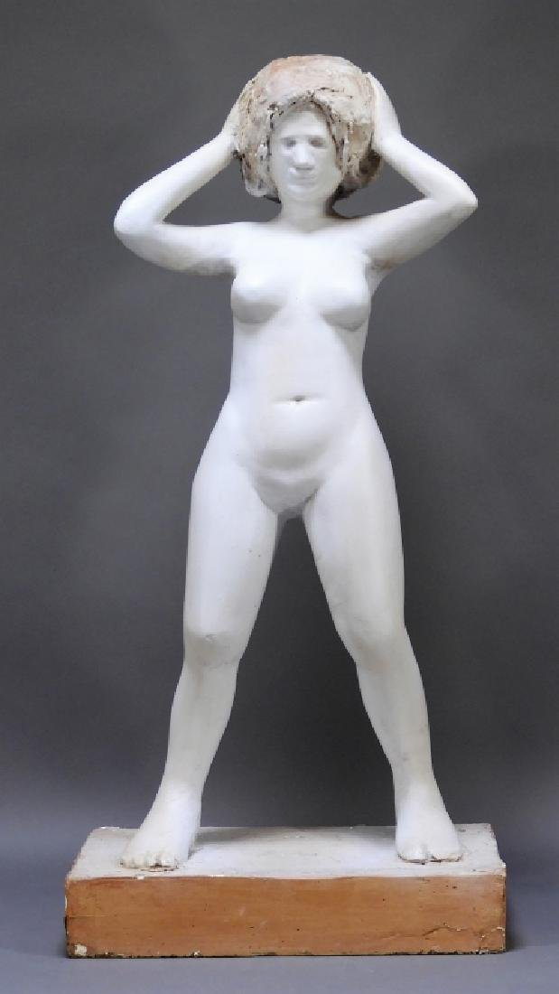20C. American Design Plaster Sculpture of Nude