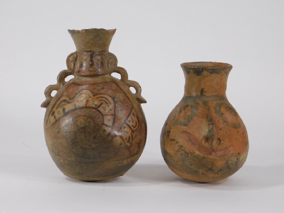 2 Pre Columbian Figural Nazca Pottery Vessels