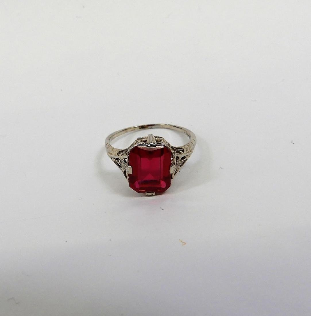 Art Deco 14K White Gold Ruby Lady's Ring