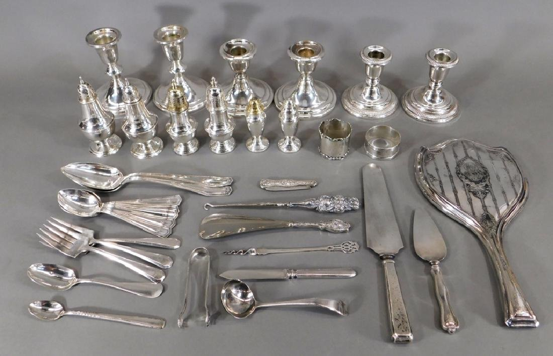 Sterling Silver Candlestick Flatware Shakers Group
