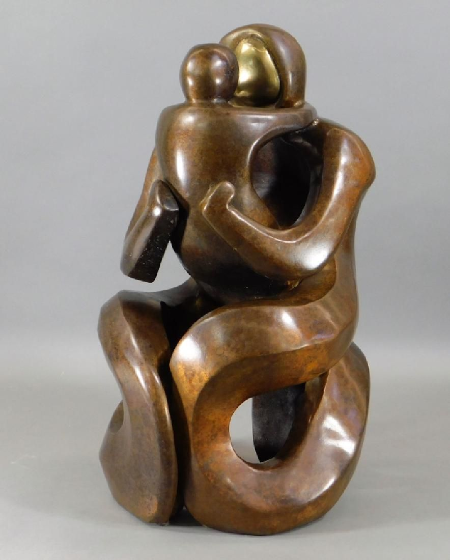 FINE Contemporary Biomorphic Mother & Child Bronze