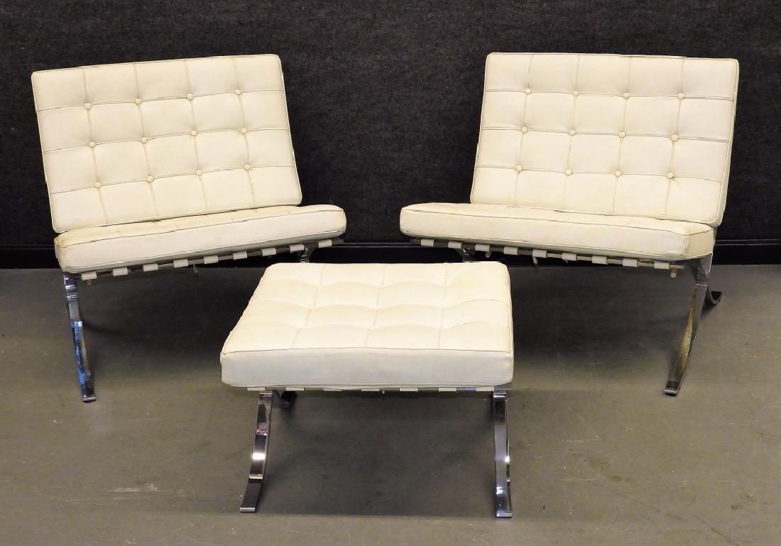Mies van der Rohe White Barcelona Chairs & Stool