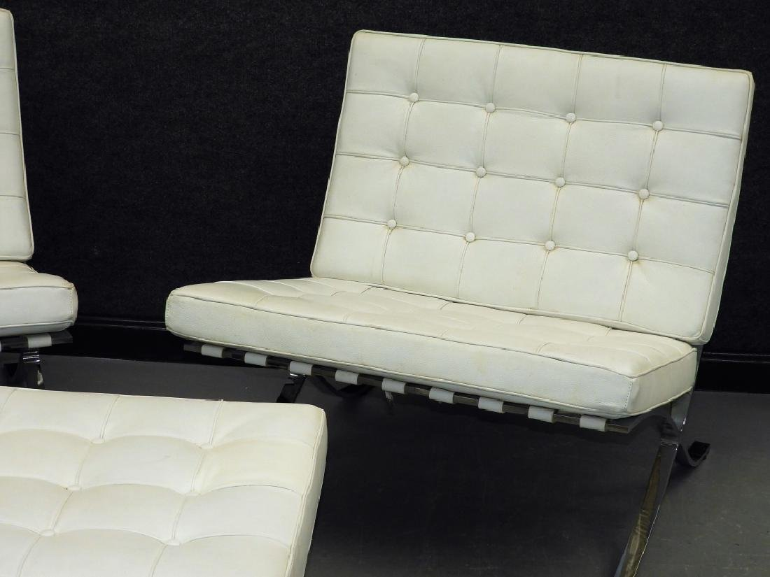Mies van der Rohe White Barcelona Chairs & Stool - 2