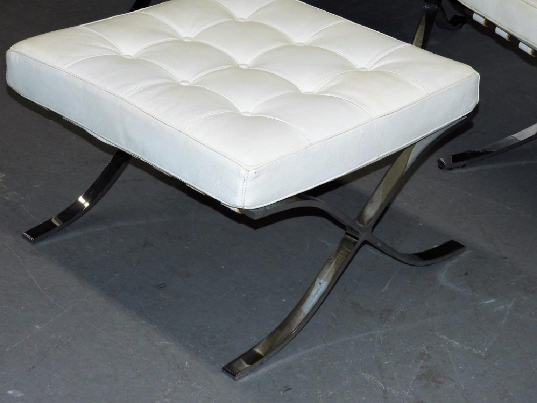 Mies van der Rohe White Barcelona Chairs & Stool - 3