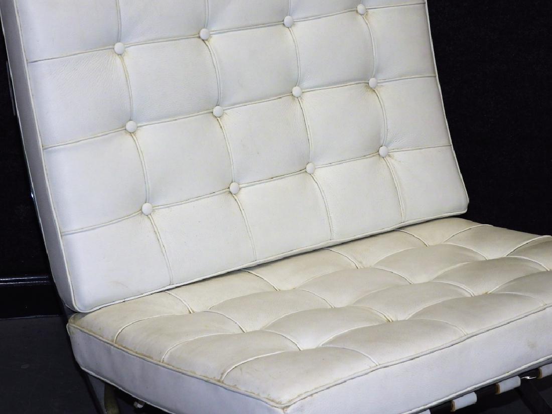 Mies van der Rohe White Barcelona Chairs & Stool - 4